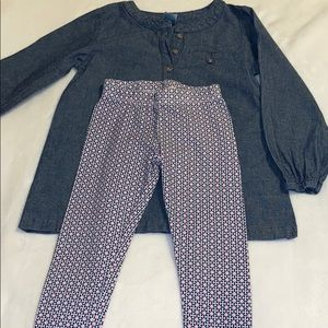 Carter's jean top and leggings outfit